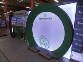 Custom ecoSmart Sustainable Inline Exhibit with Backlit SEG Graphics, Tension Fabric Graphic Accents, Dual Monitor Mounts, and Header